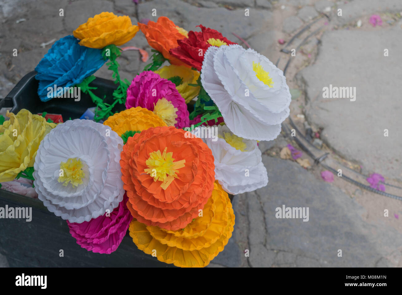 An assortment of fake flowers, in many different colors, in Mexico - Stock Image