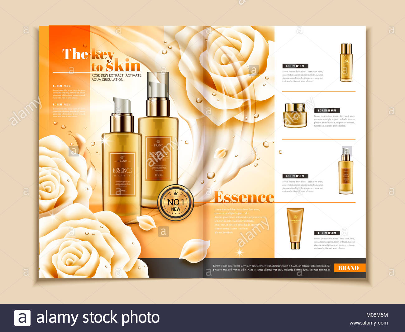 skin care brochure template series of skincare products on magazine