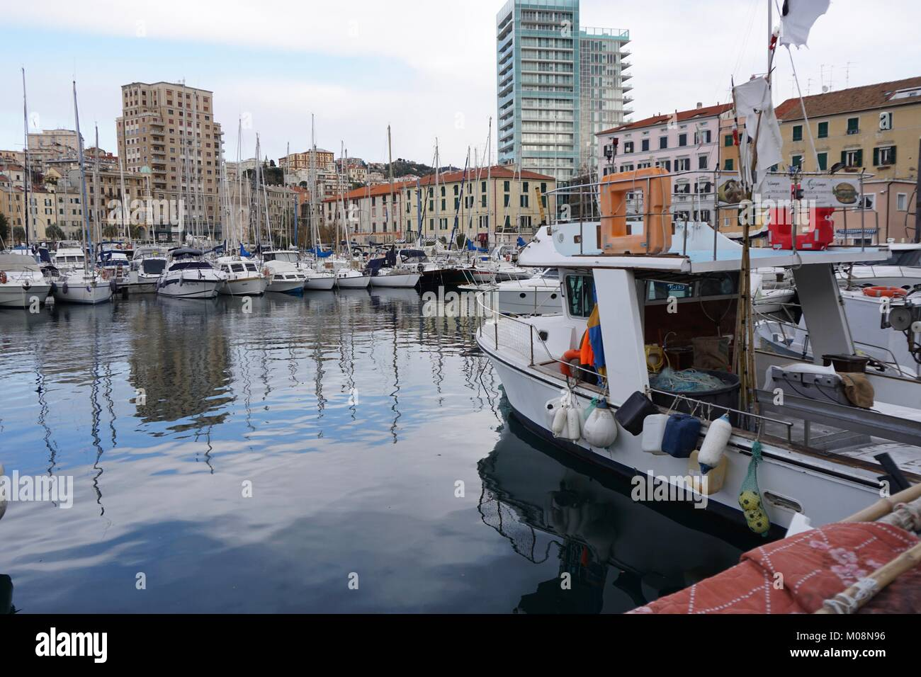 Savona Italy port, harbor for yacht, fishing boat and ships - Stock Image