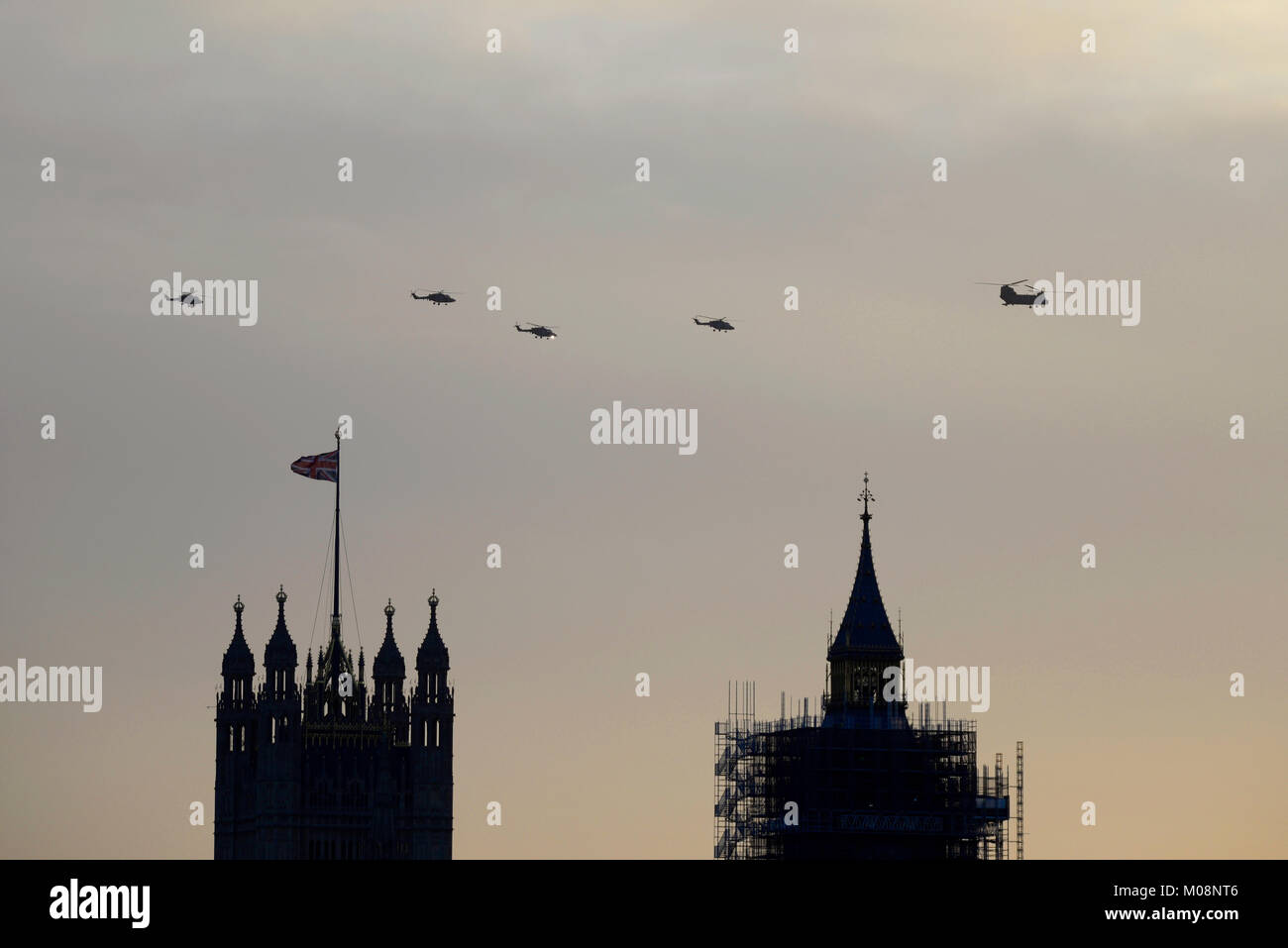British Army farewell tour of their Westland Lynx helicopters flying over London. The four Lynx helicopters picked - Stock Image