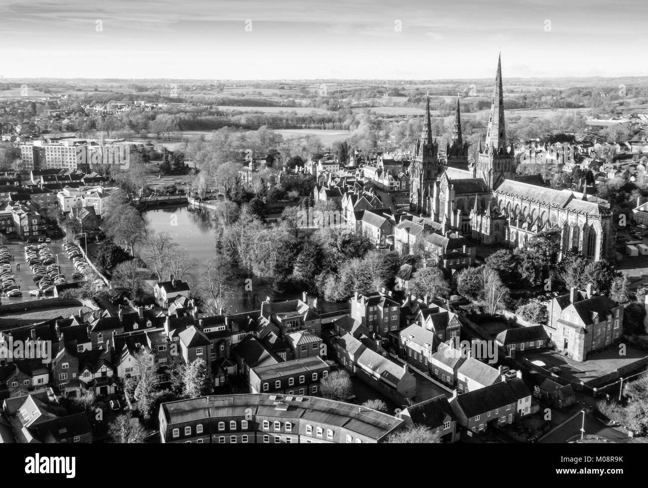 Lichfield from the air. Stock Photo
