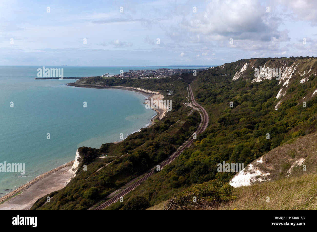 Cliff-top view taken from Capel-Le-Ferne, looking towards the town of Folkestone - Stock Image