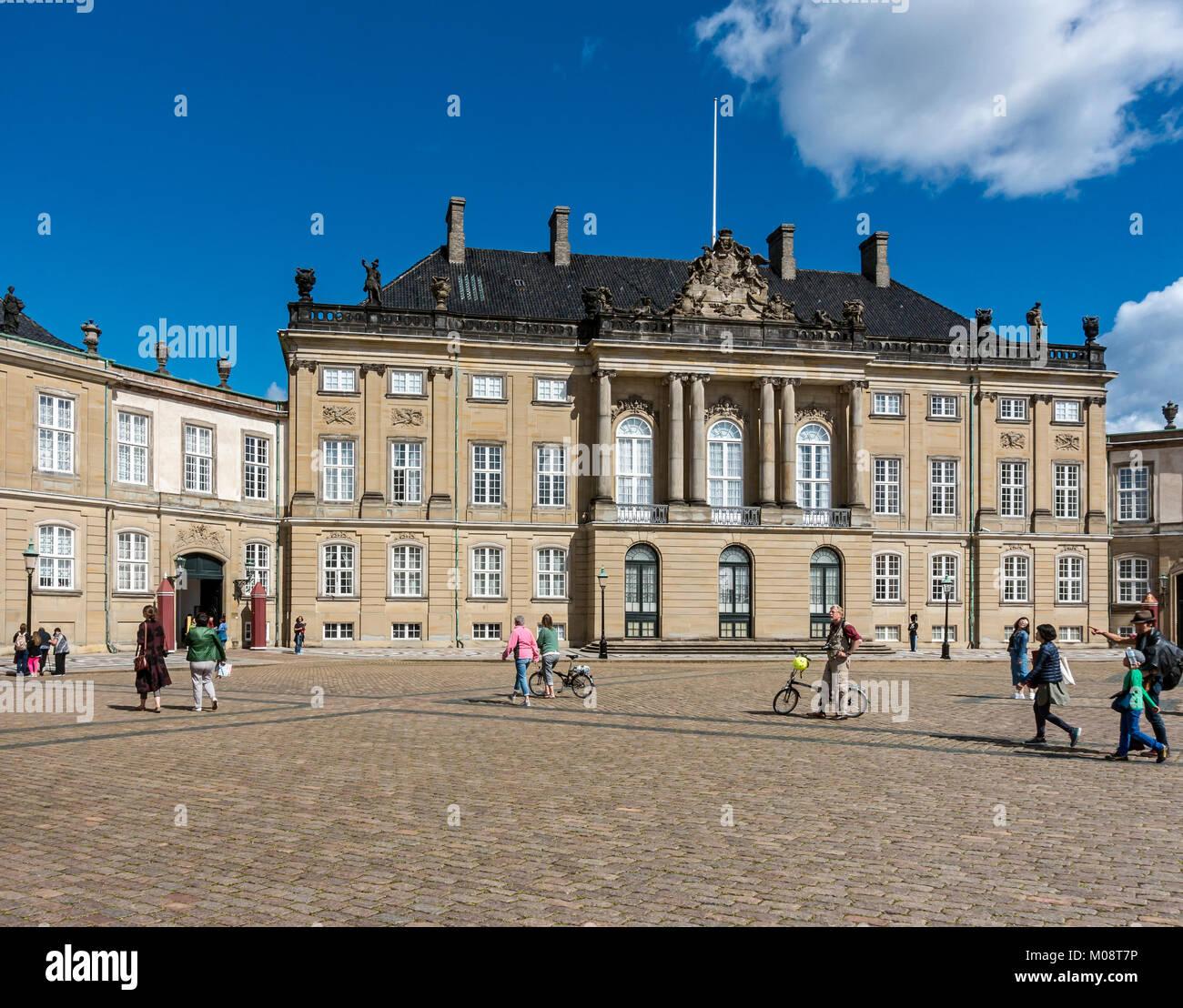 Christian VIII palace with entrance to museum at Amalienborg Slotsplads Copenhagen Denmark UK Stock Photo