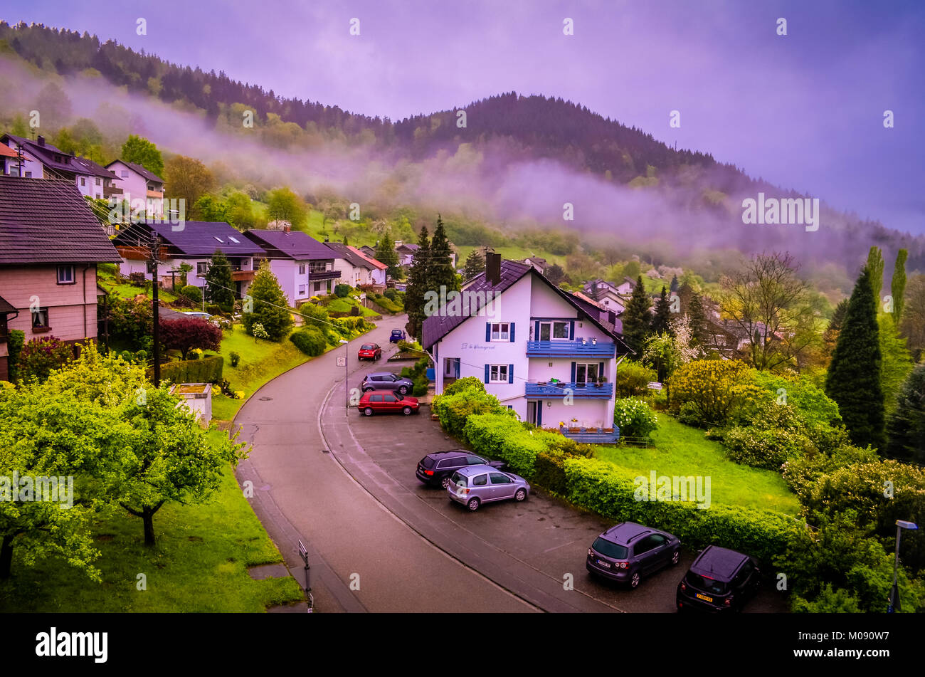 Sleepy town somewhere in Black Forest in South Germany, like brothers Grimm fairy takes famous for spas and cuckoo - Stock Image