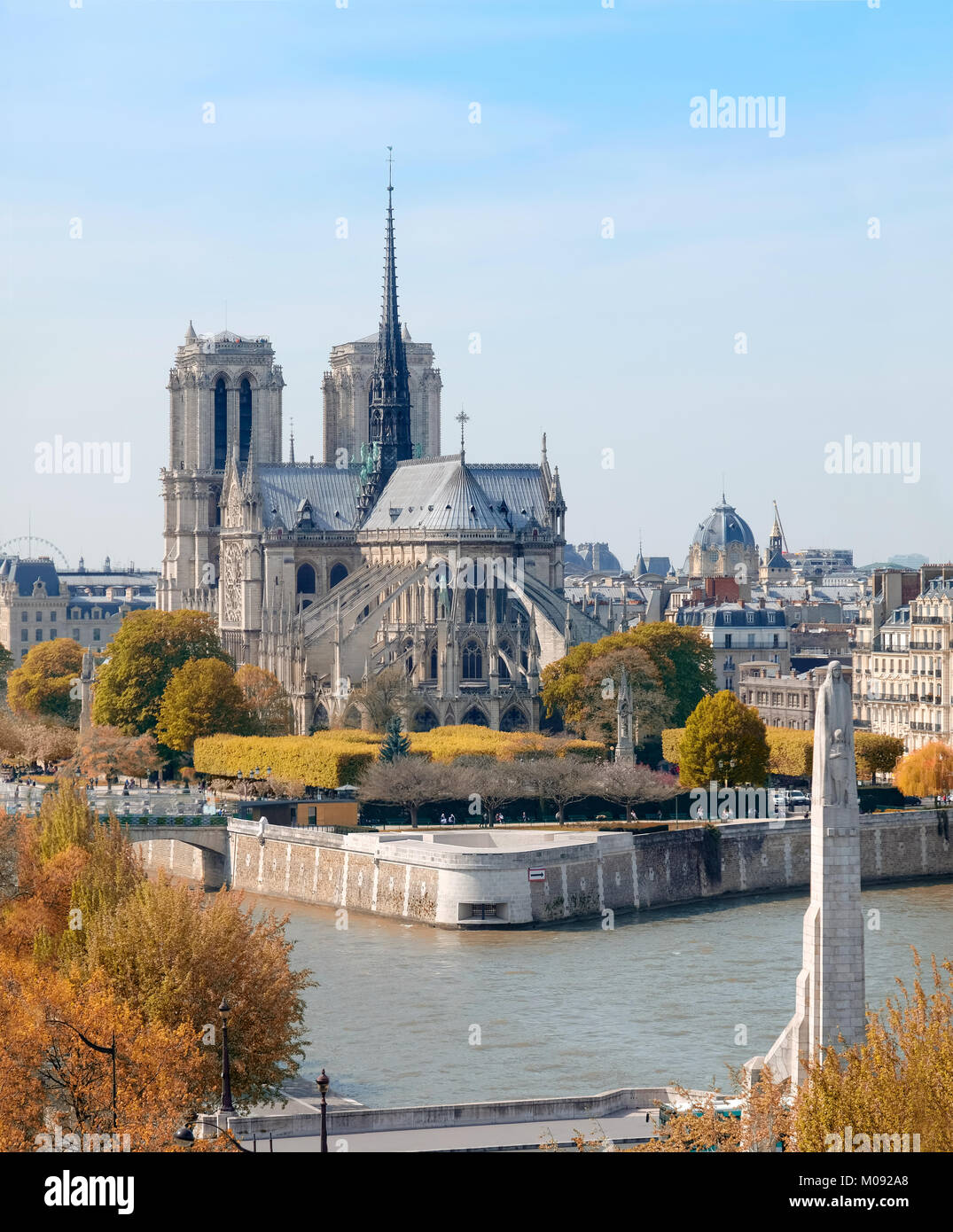 Notre-Dame cathedral in Paris in Autumn,an aerial view - Stock Image