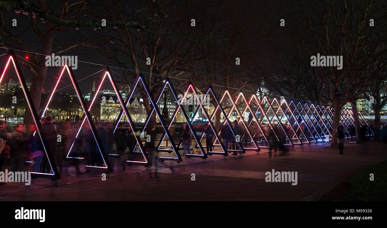 Lumiere London 2018. 'Vertigo' by The Wave consists of 40 triangular luminous gates which respond sonically - Stock Image