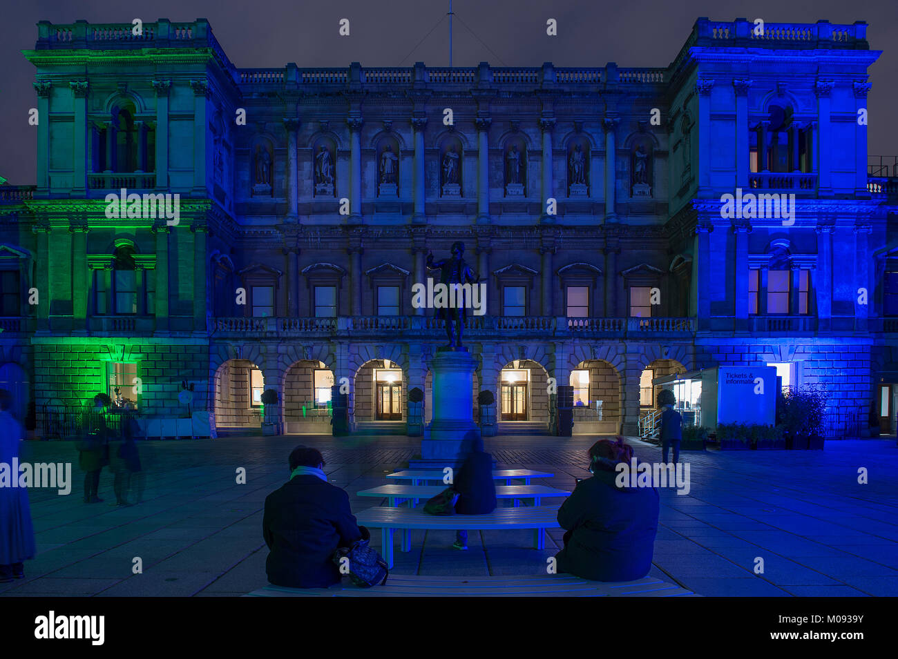 18 Jan 2018. Lumiere London. The facade of the RA in Piccadilly at night. Credit: Malcolm Park/Alamy - Stock Image