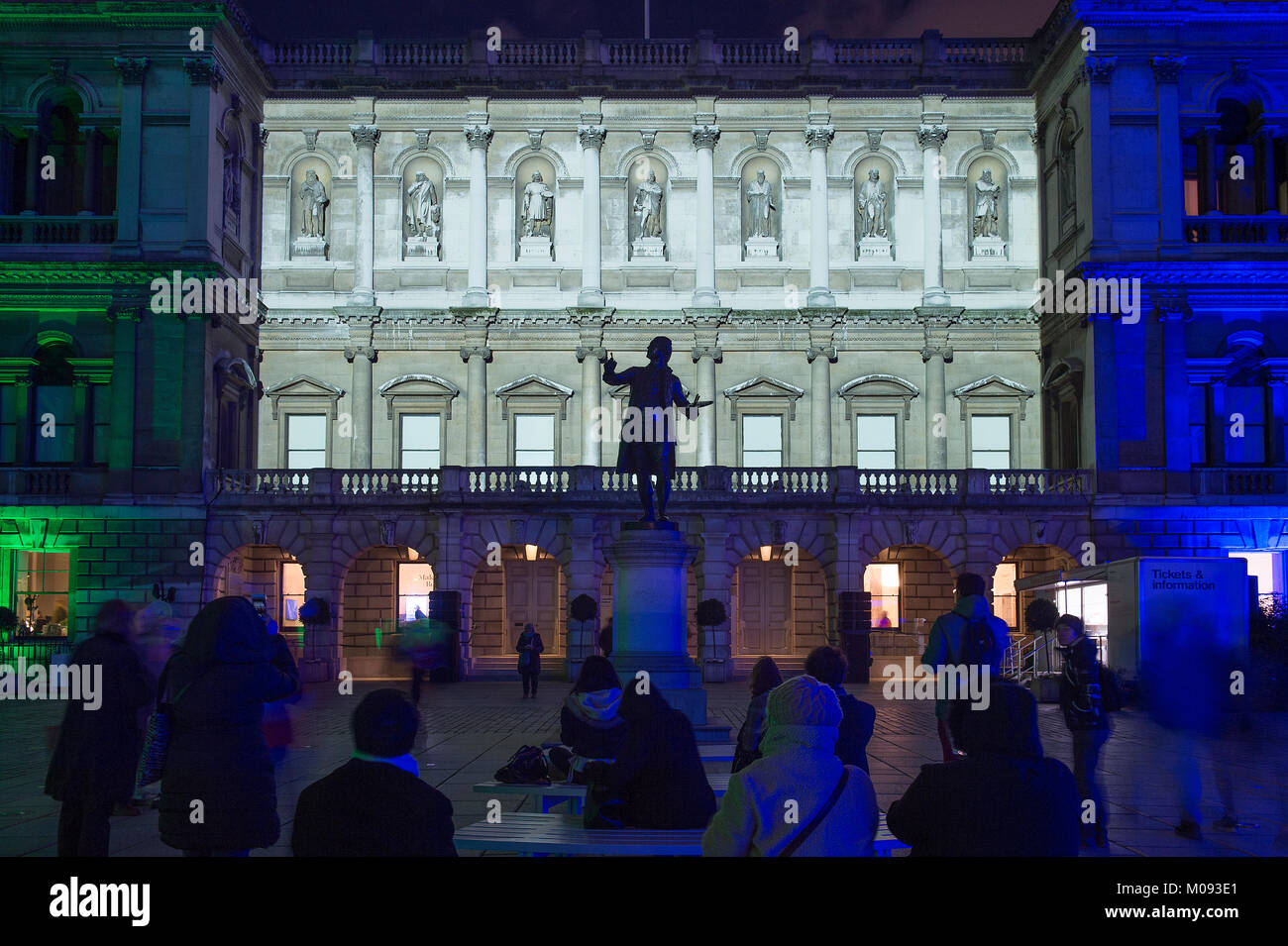 18 Jan 2018. Lumiere London. 'Love Motion' animation by Rhys Coren projected onto the facade of the RA in - Stock Image