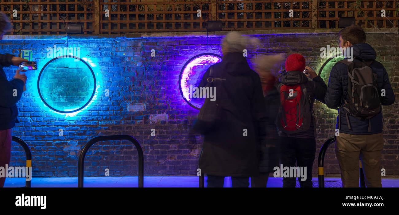 18 Jan 2018. Lumiere London. 'Harmonic Portal' by Chris Plant at St James's Church. Credit: Malcolm - Stock Image