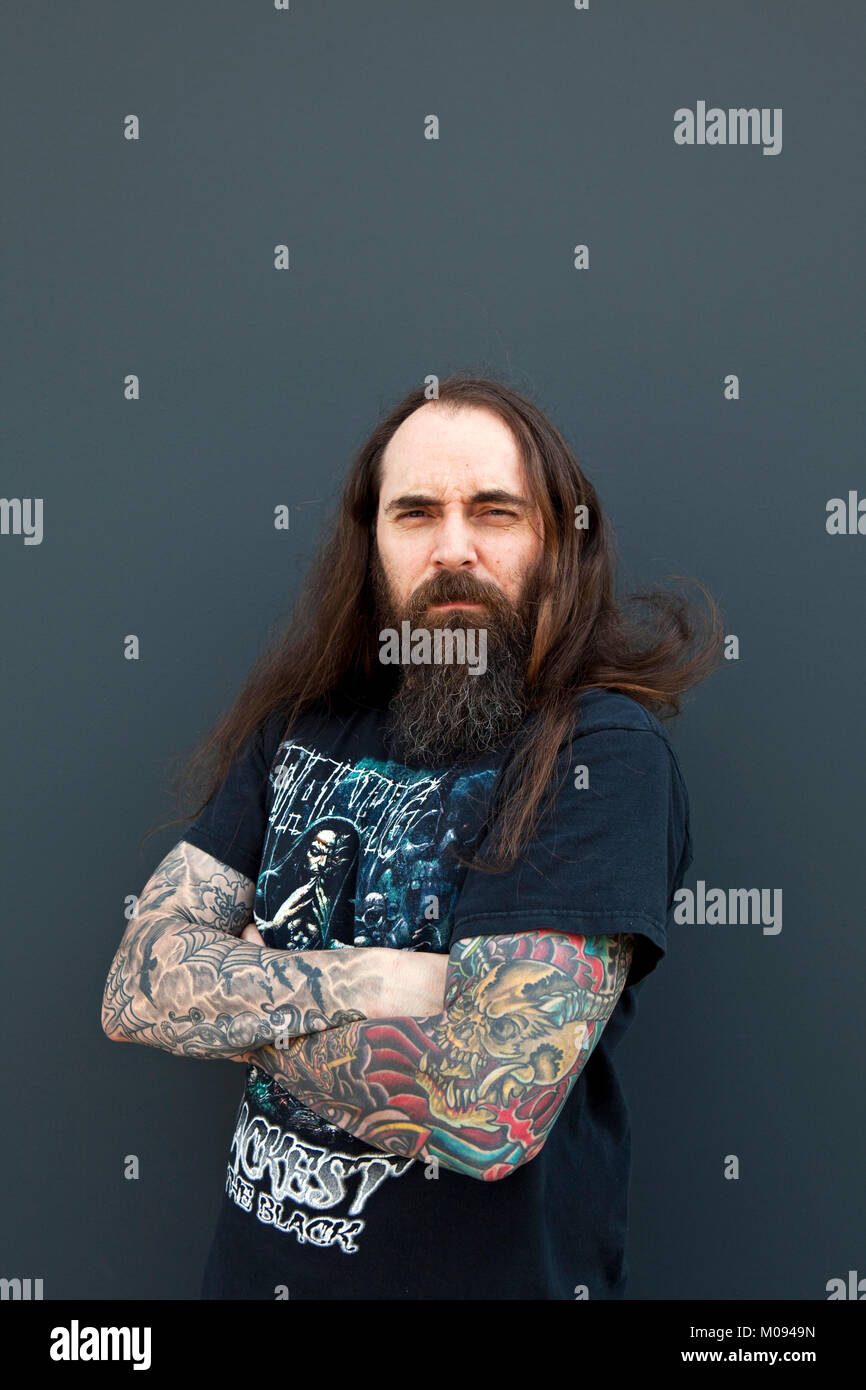 The American heavy metal band Skeletonwitch originates from Ohio, USA. Here vocalist Chance Garnette is pictured - Stock Image
