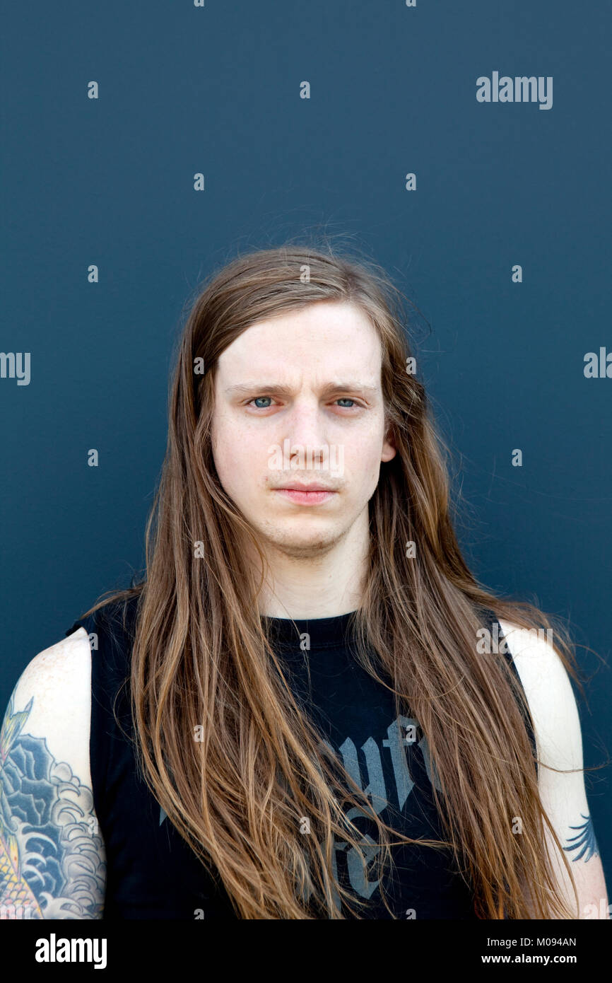 The American heavy metal band Skeletonwitch originates from Ohio, USA. Here bassist Evan 'Loosh' Linger - Stock Image