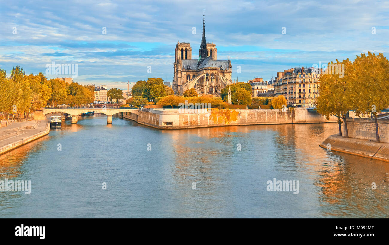 Paris, vertical panorama over river Seine with Notre-Dame cathedral on a bright day in Fall, toned image - Stock Image