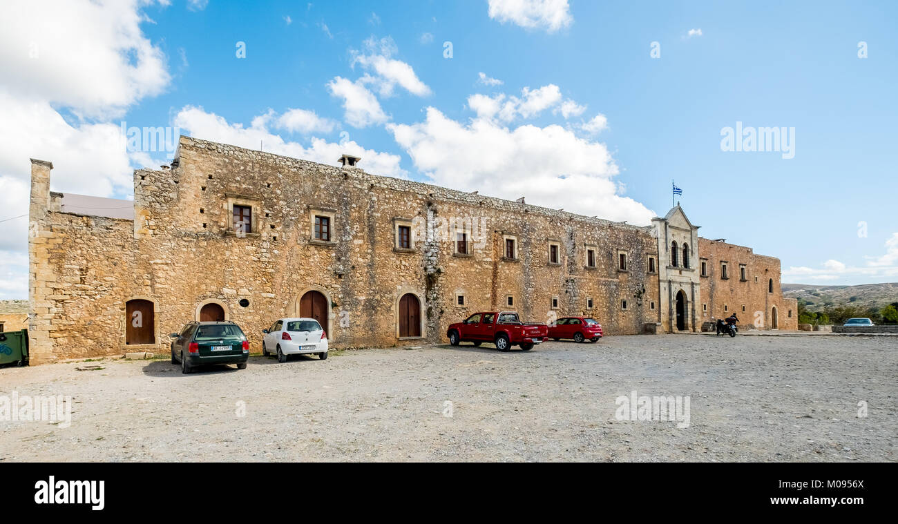 Moni Arkadi Monastery, National Monument of Crete in the struggle for independence, Exterior, Crete, Greece, Europe, - Stock Image