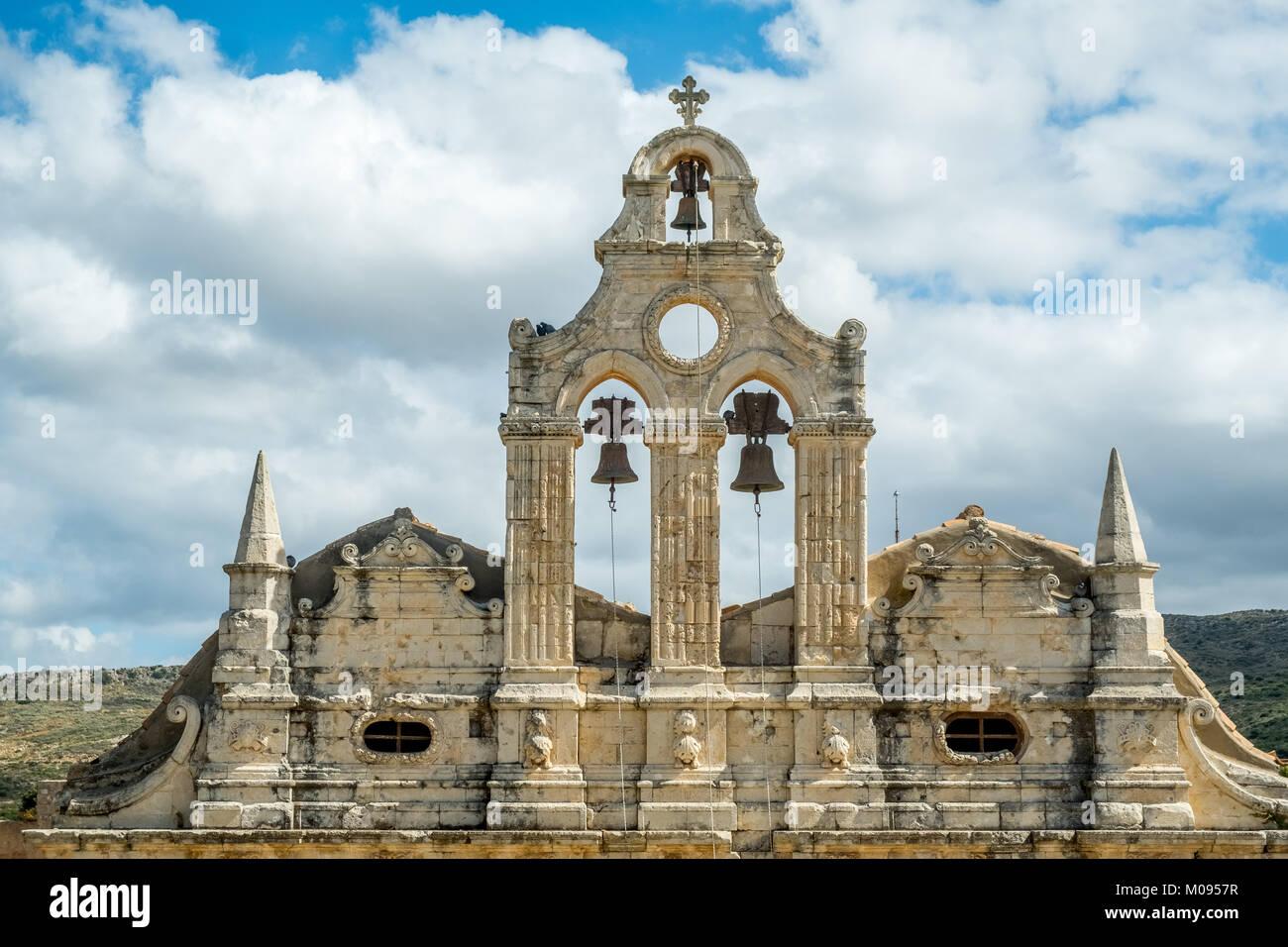Bell tower of the two-nave monastery church Moni Arkadi Monastery, Greek Orthodox Church, National Monument of Crete - Stock Image