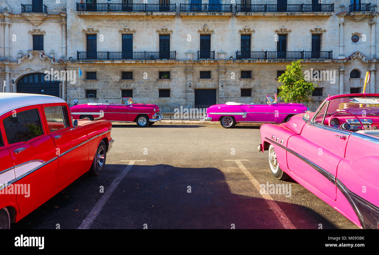 Four American Made Classic Cars Parked in Old Havana Cuba - Stock Image