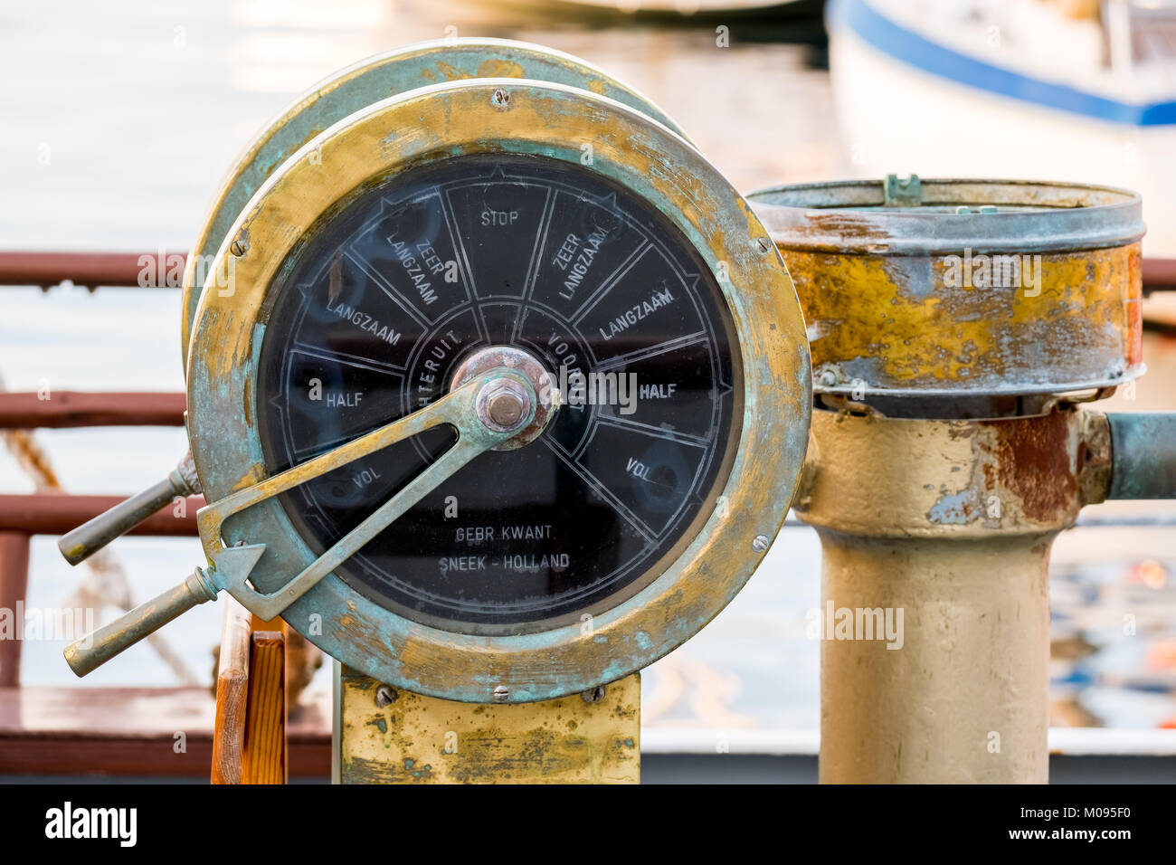 Old ship fitting, ship throttle control brass, Chania, Europe, Crete, Greece, Chania, Europe, Crete, Greece, GR, Stock Photo