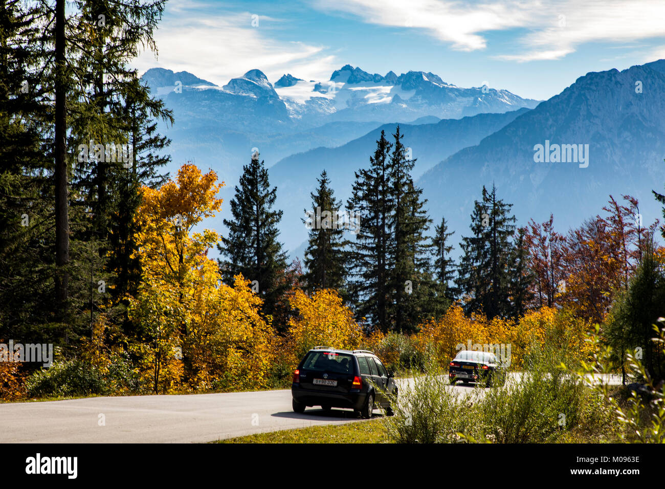 The Loser panoramic road on the Loser Mountain, in the Ausseeer Land, Styria, Austria, behind the Dachstein massif, - Stock Image