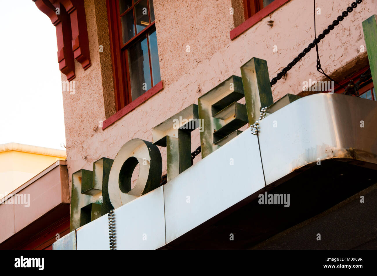 Hotel sign on exterior - Stock Image