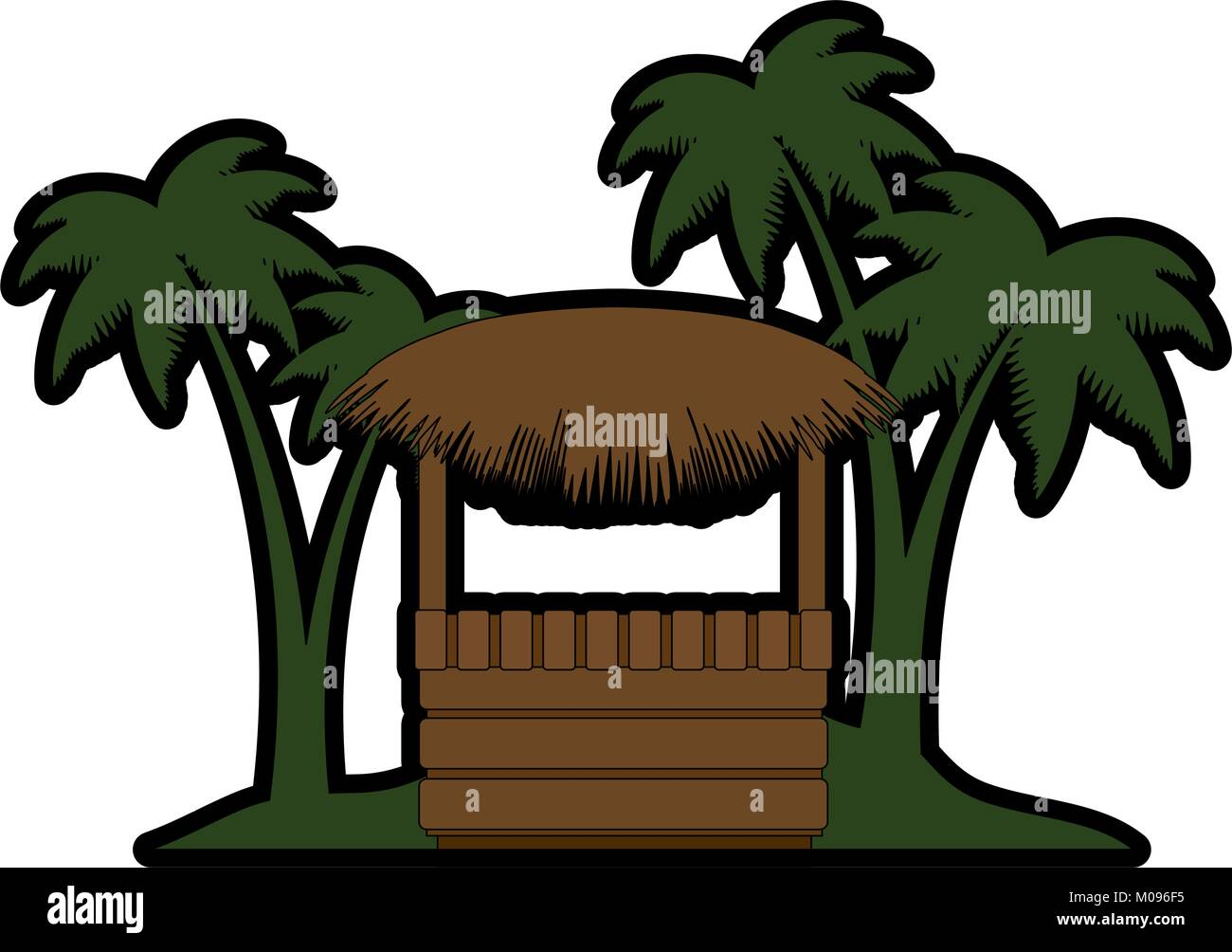 wooden kiosk and palm leaves on the beach illustration