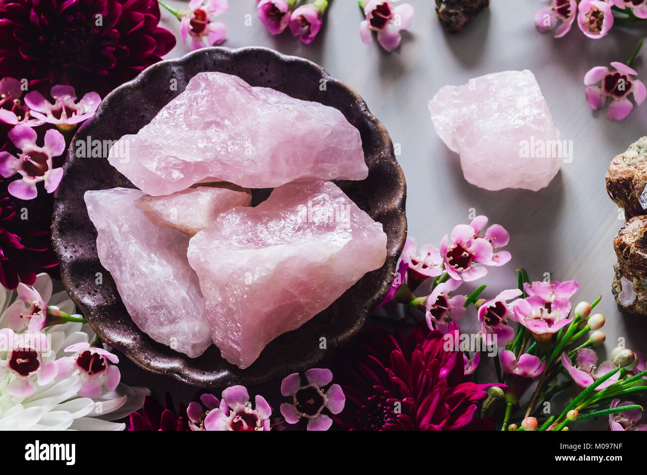 Rough Rose Quartz and Garnet in Matrix with Mixed Flowers - Stock Image