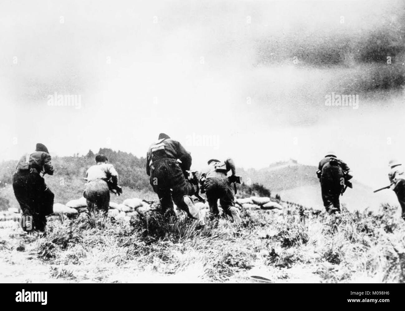 Counter-Attack before losing IrUn to the Rebels at the Battle of Irún during the Spanish Civil War in - Stock Image
