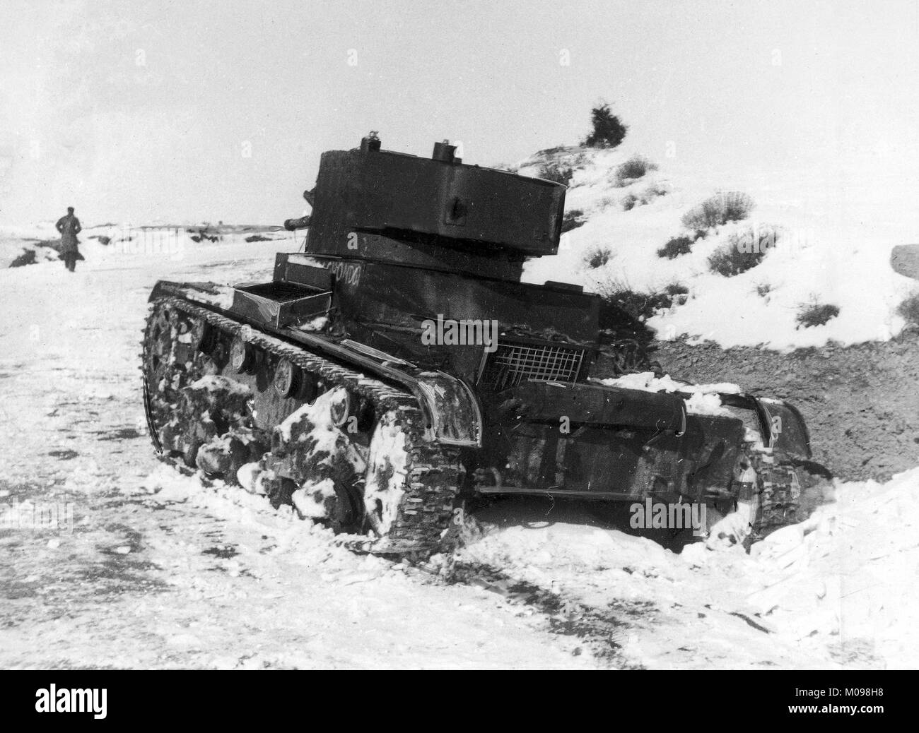 Republican T-26 tank at the Battle of Teruel during the Spanish Civil War in December 1937 - Stock Image