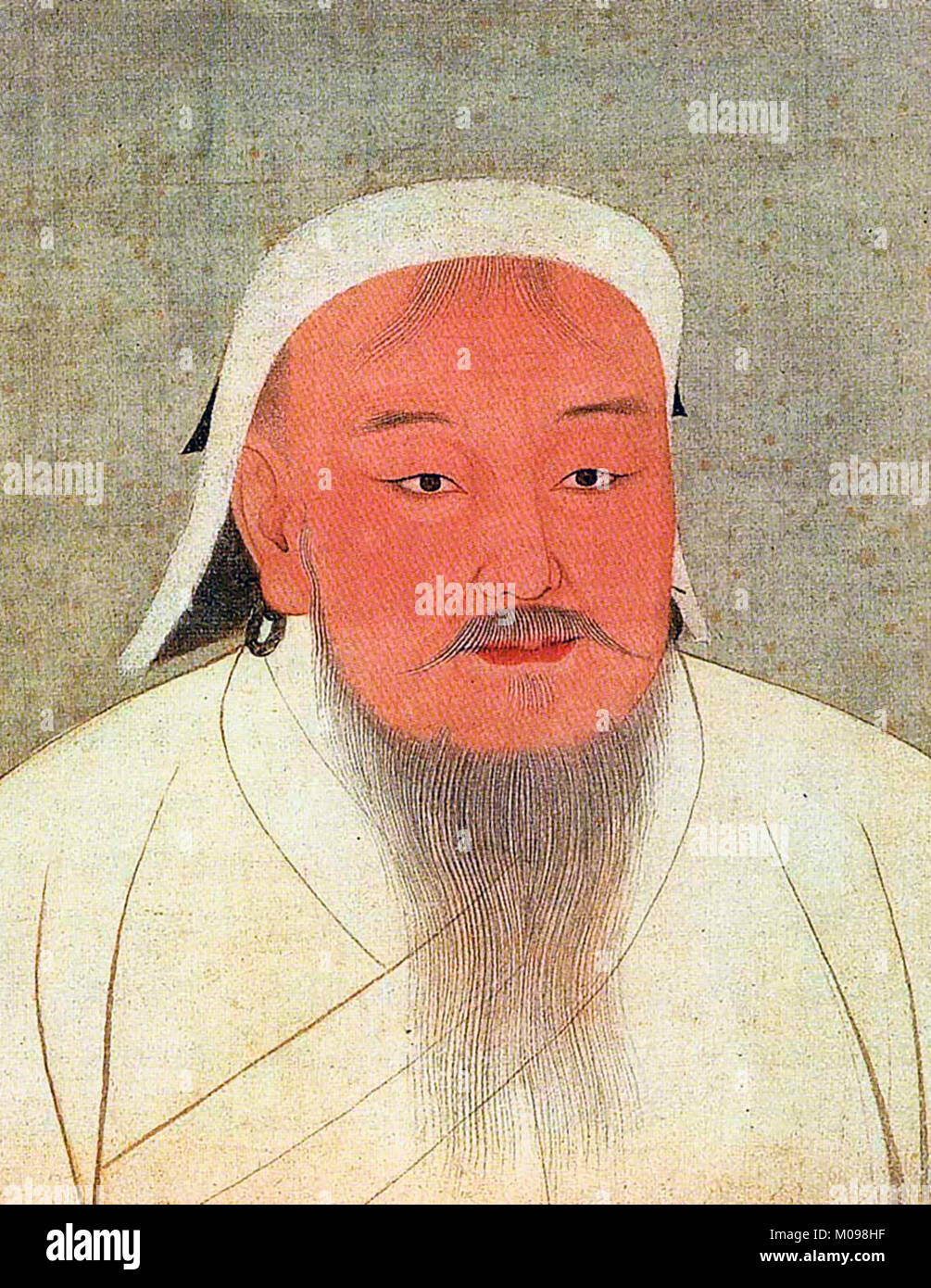 Genghis Khan (c.1162-1227), portrait of the founder of the Mongol Empire, paint and ink on silk, 14th century - Stock Image