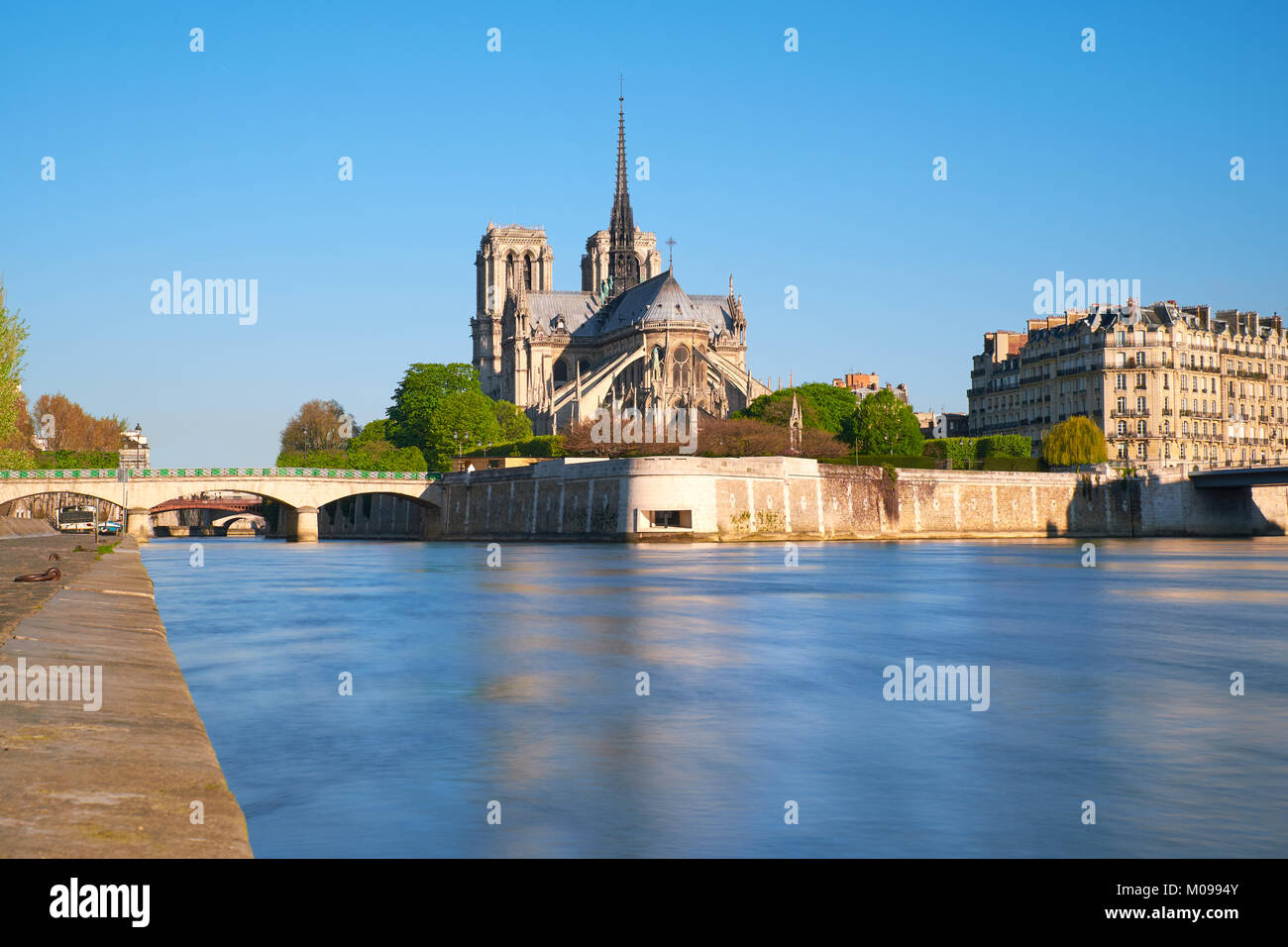 Paris, view over river Seine with Notre-Dame cathedral from the back on a bright day in Spring. - Stock Image