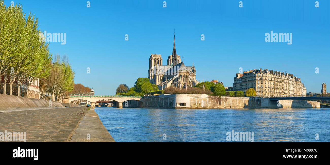 Paris, panorama over river Seine with Notre-Dame cathedral from the back on a bright day in Spring. - Stock Image
