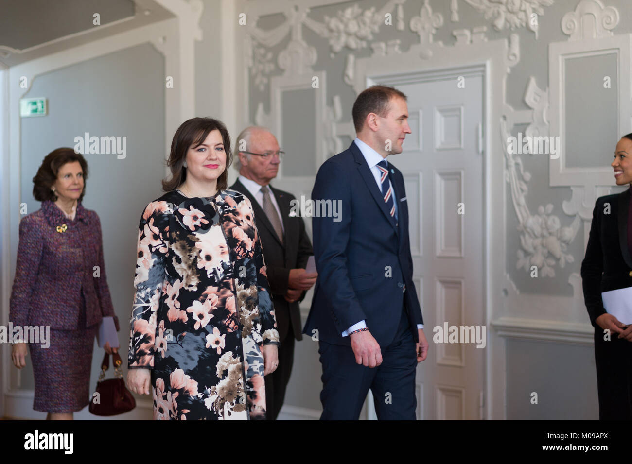 Stockholm, Sweden. 19th Jan, 2018. From 17 to 19 January, Iceland's President Guðni Thorlacius Jóhannesson, visiting Sweden at the invitation of The King. President Jóhannesson visiting Sweden with his wife, Eliza Jean Reid. The royal couple and the presidential couple visiting Uppsala Castle. Credit: Barbro Bergfeldt/Alamy Live News Stock Photo