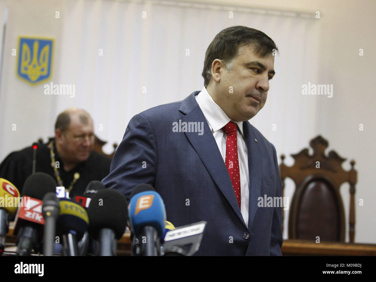 Kiev, Ukraine. 19th Jan, 2018. Former Georgian president and ex-Odessa Governor MIKHEIL SAAKASHVILI (C) attends - Stock Image