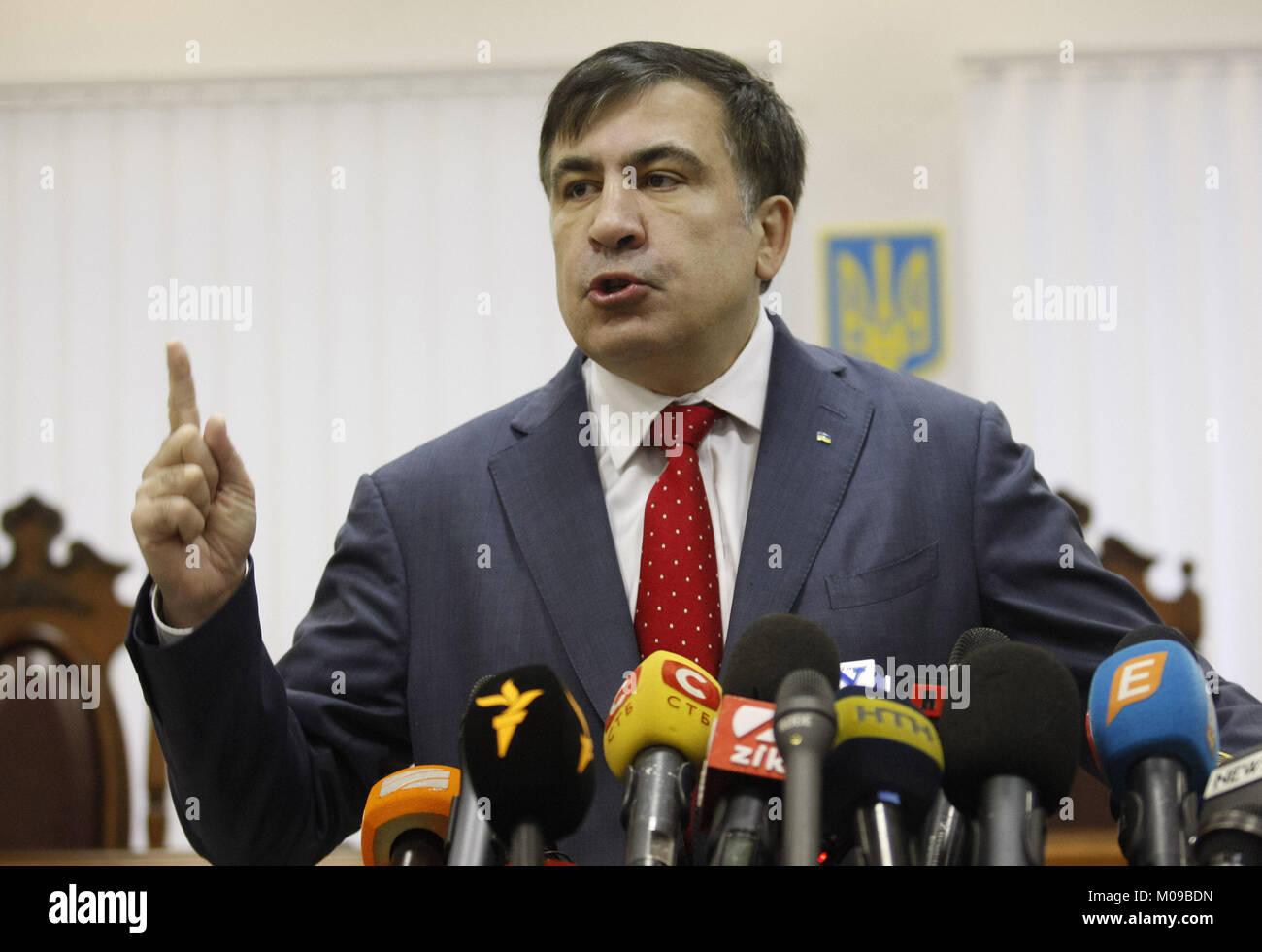 Kiev, Ukraine. 19th Jan, 2018. Former Georgian president and ex-Odessa Governor MIKHEIL SAAKASHVILI speaks during - Stock Image