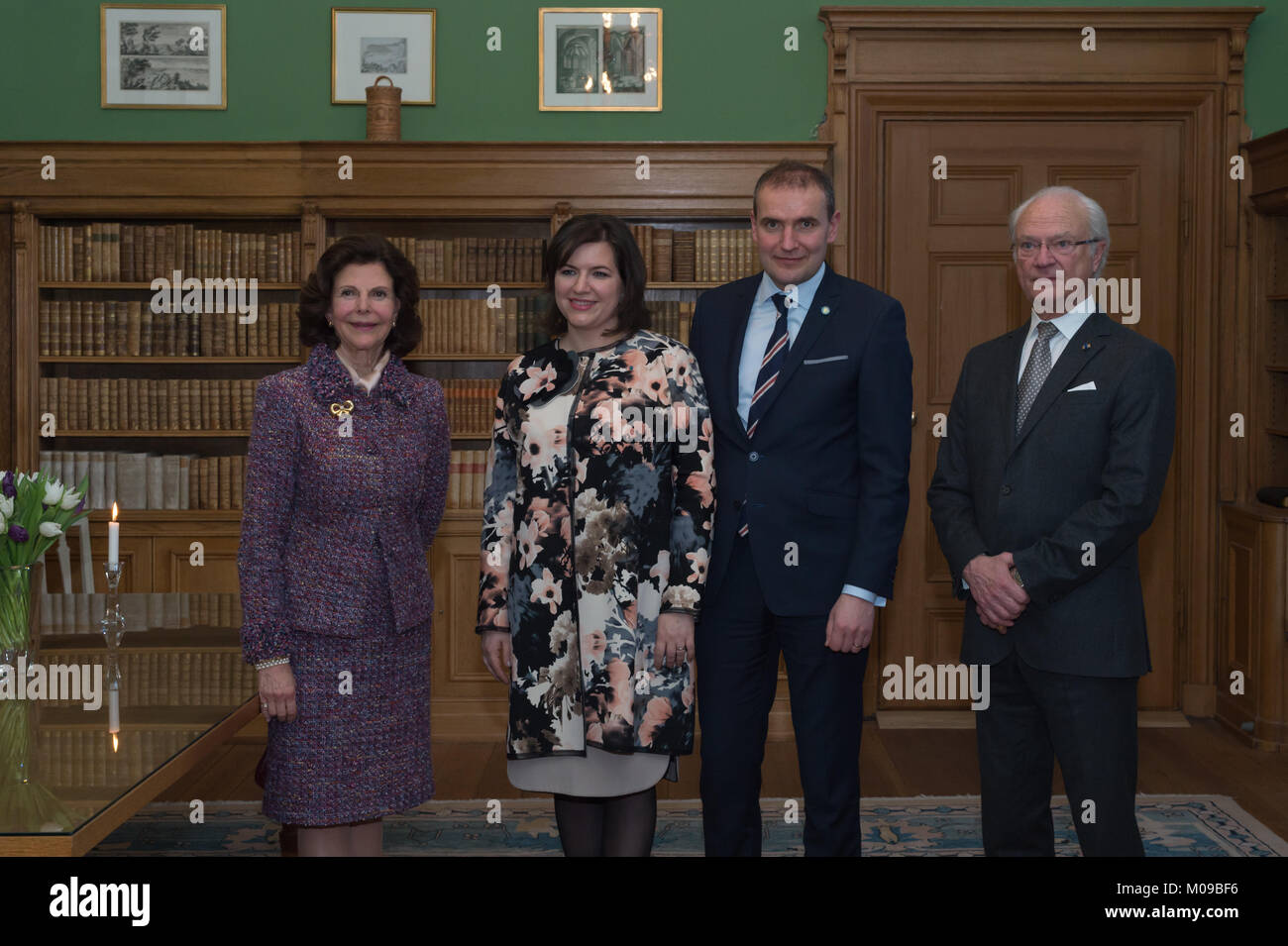Stockholm, Sweden, 19th January, 2018.  From 17 to 19 January, Iceland's President Guðni Thorlacius Jóhannesson, visiting Sweden at the invitation of The King. President Jóhannesson visiting Sweden with his wife, Eliza Jean Reid. Farewell at Uppsala Castle. The royal couple wished the presidential couple farewell at the departure ceremony, here at the library at Uppsala Castle. Stock Photo