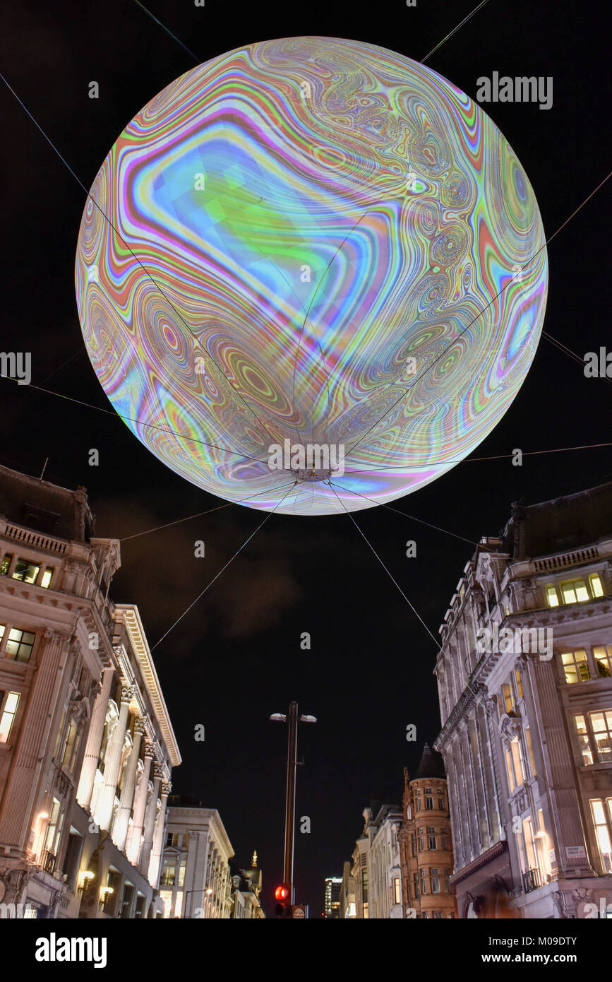 London, UK.  19 January 2018. 'Origin of the World Bubble' by Miguel Chevalier, a giant balloon, suspended - Stock Image