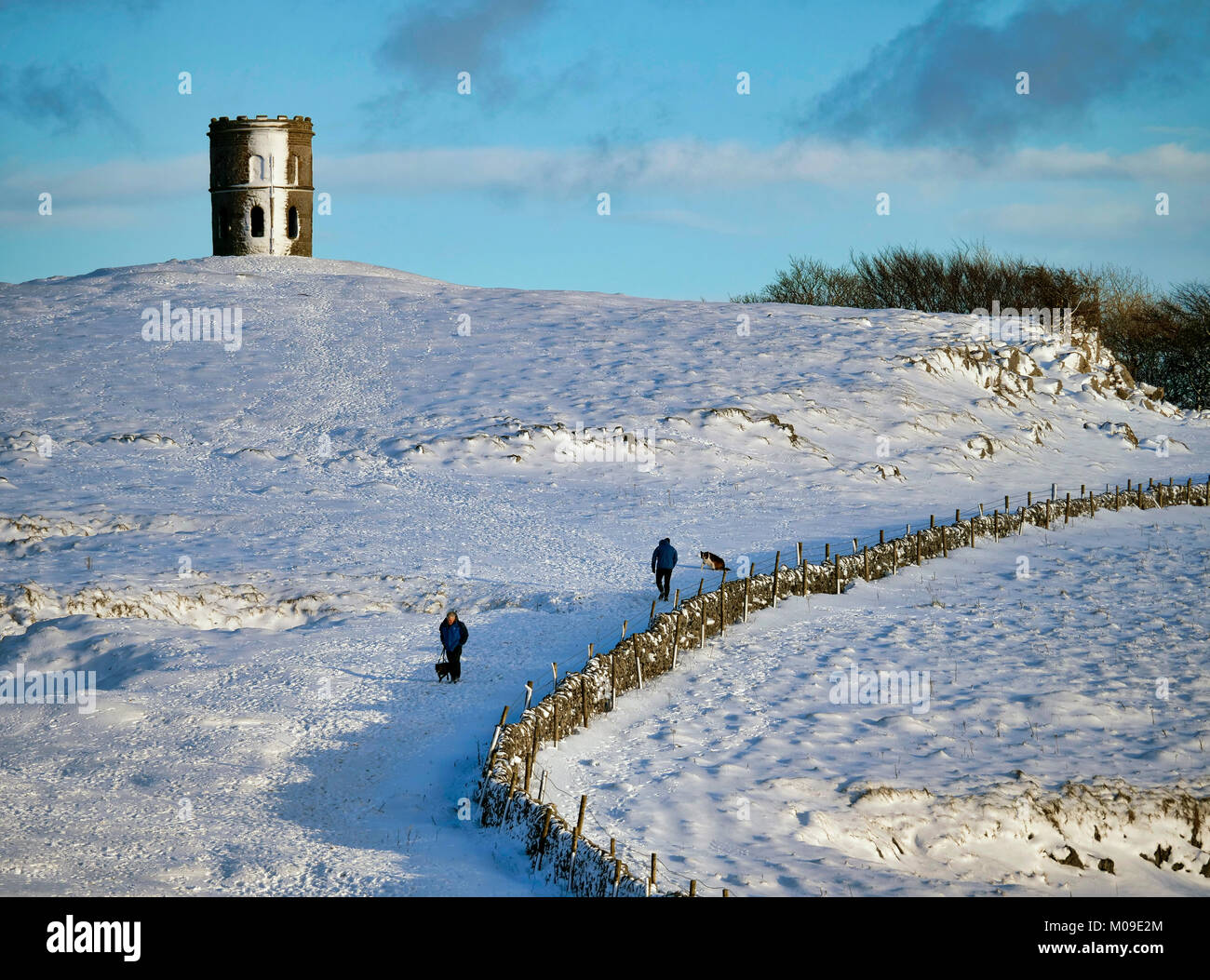 Buxton, Derbyshire, UK. 19th January, 2018.  UK Weather: Solomon's Temple Buxton Derbyshire, dog walkers in the Stock Photo