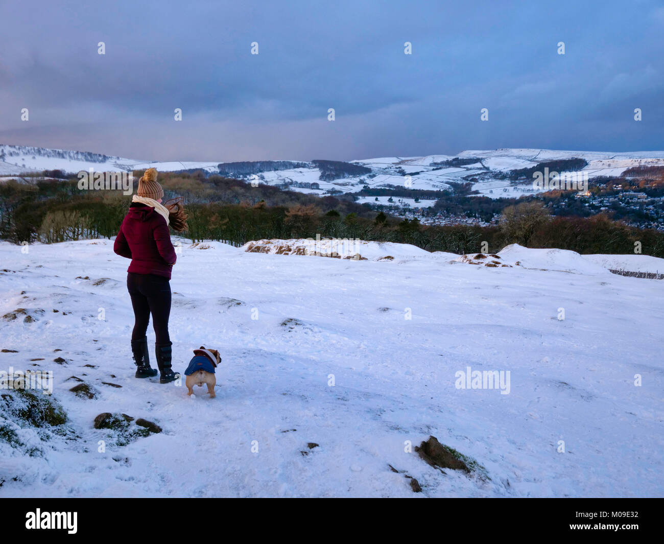 Buxton, Derbyshire, UK. 19th January, 2018.  UK Weather: Snow on the hills in the Derbyshire countryside near Ashbourne - Stock Image