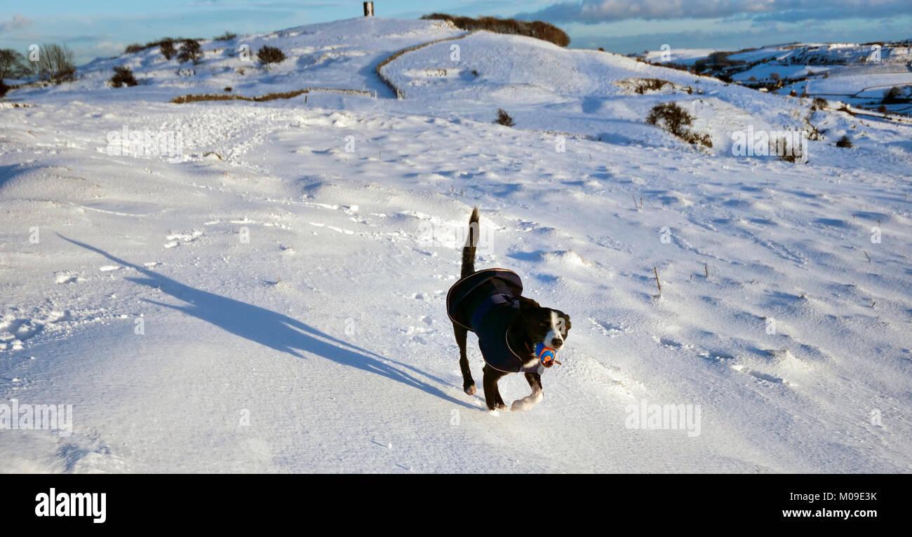 Buxton, Derbyshire, UK. 19th January, 2018.  UK Weather: Solomon's Temple Buxton Derbyshire, dog walkers in - Stock Image