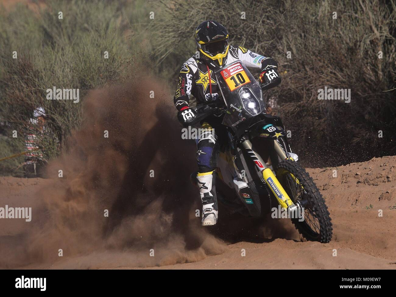 Pozuelo, Argentina. 19th Jan, 2018. Chilean Pablo Quintanilla of Husqvarna competes during the 13th stage of the - Stock Image