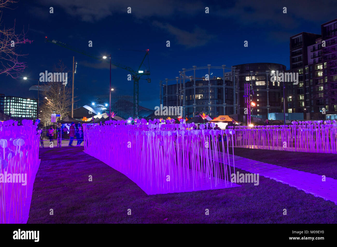 London, UK. 19th Jan, 2018. Locations around Kings Cross in London feature spectacular light displays created by - Stock Image