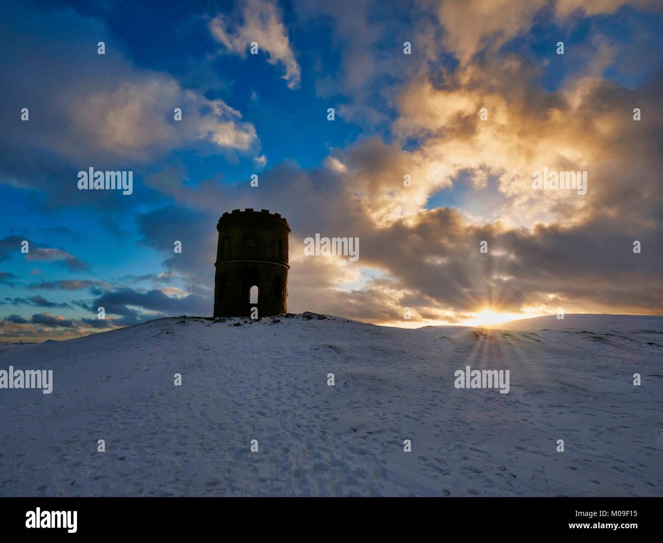 Buxton, Derbyshire, UK. 19th January, 2018. UK Weather: Sunset over Solomon's Temple Buxton Derbyshire, also - Stock Image
