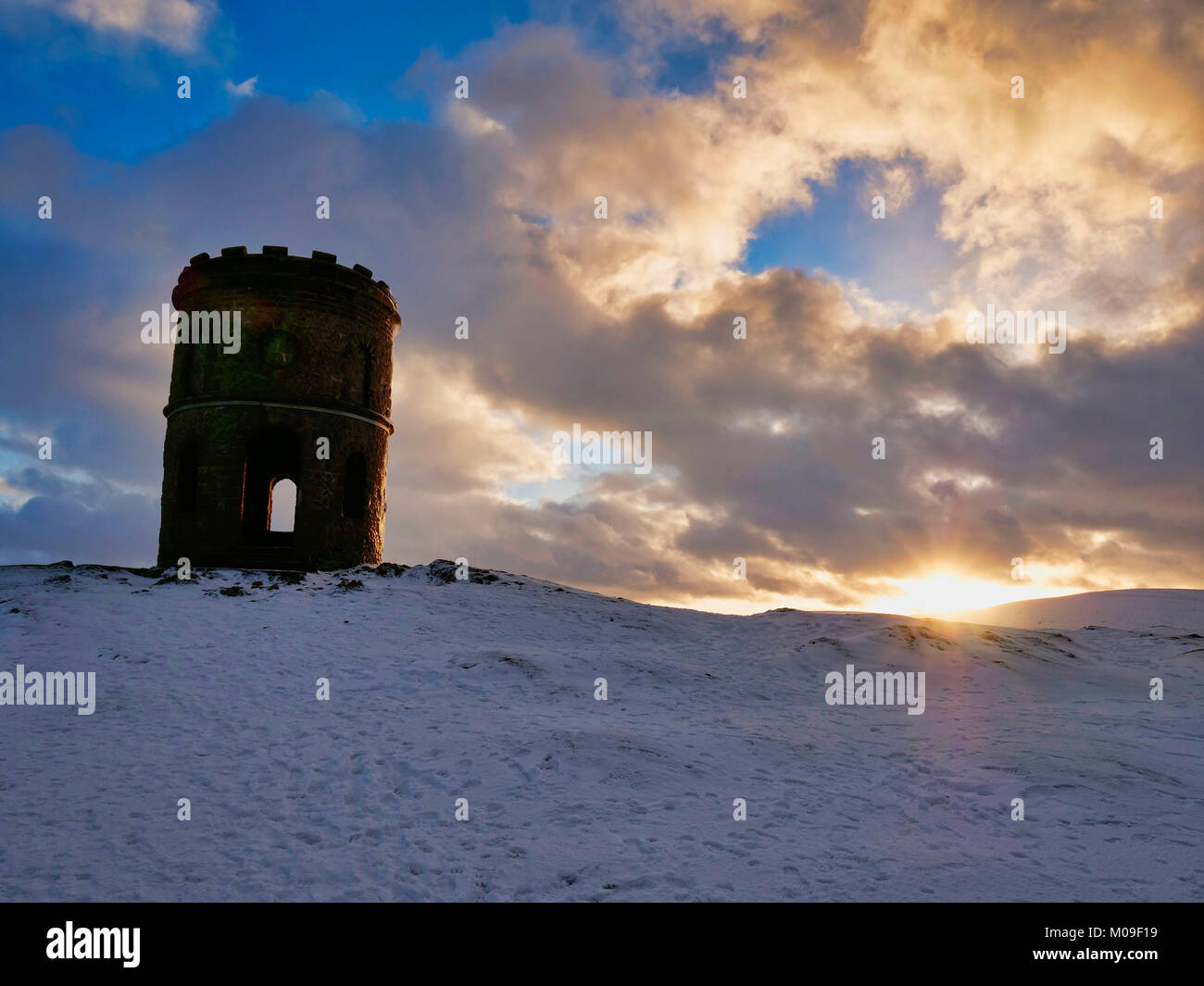 Buxton, Derbyshire, UK. 19th January, 2018. UK Weather: Sunset over Solomon's Temple Buxton Derbyshire, also called Stock Photo