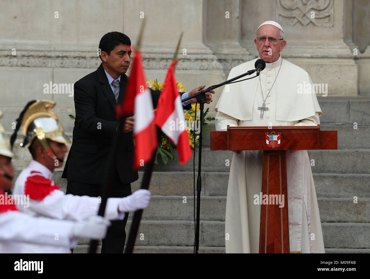 Pope Francis speaks as he arrives at the Government Palace, in Lima, Peru, 19 January 2018. The pontiff is in Peru - Stock Image