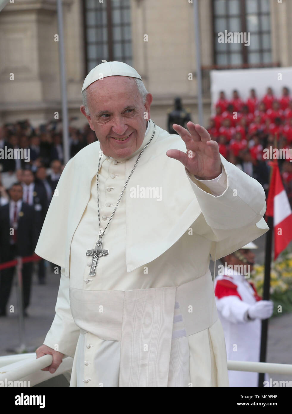 Pope Francis greets devotees at the Government Palace, in Lima, Peru, 19 January 2018. The pontiff is in Peru for - Stock Image
