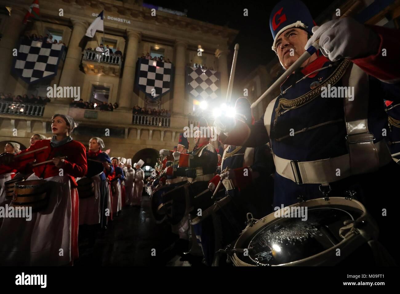 Flag raising ceremony during the Big Day of San Sebastian's festivities in San Sebastian, Basque Country, Spain, - Stock Image