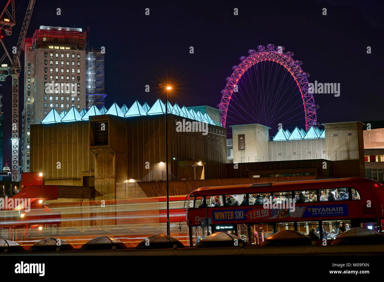 London, UK. 18th Jan, 2018. A view of Sixty Minute Spectrum by David Batchelor on the Hayward Gallery on the South - Stock Image