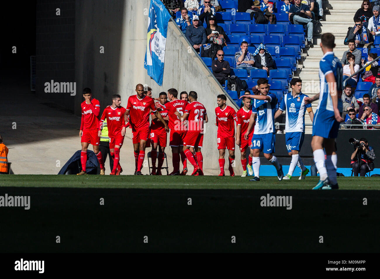 Sevilla CF players celebrates the goal during the match between RCD Espanyol and Sevilla CF, for the round 20 of - Stock Image