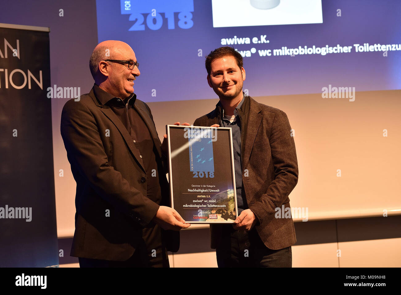 Germany. 14th Jan, 2018. European Innovation Award at the CMT2018 in Stuttgart.Hugo Paul, Editor Editor in Chief - Stock Image