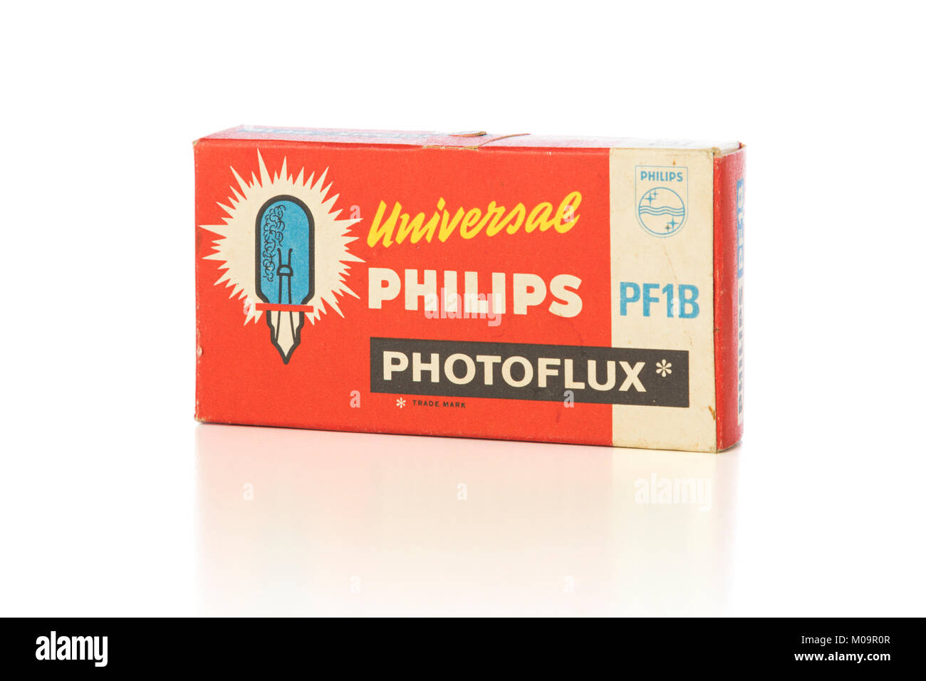 Studio shot of vintage Philips Photoflux flash bulb packaging on white background - Stock Image