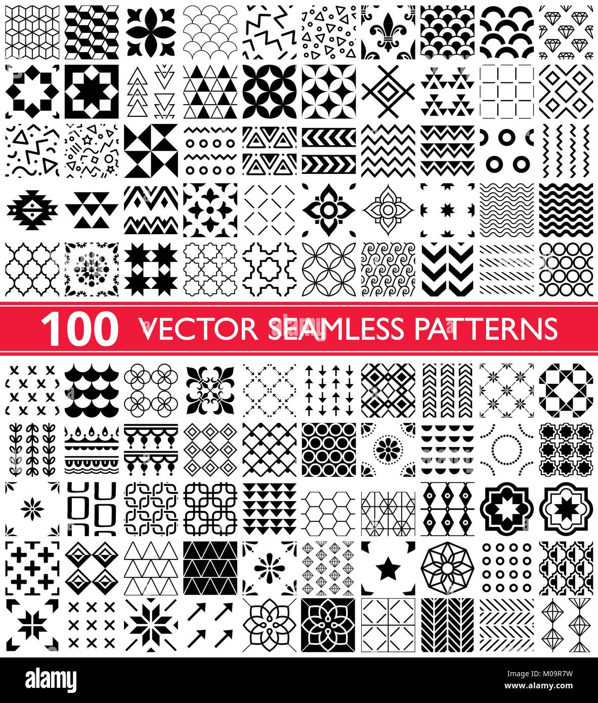 100 vector seamless pattern collection, geometric universal patterns and tiles - big pack - Stock Vector