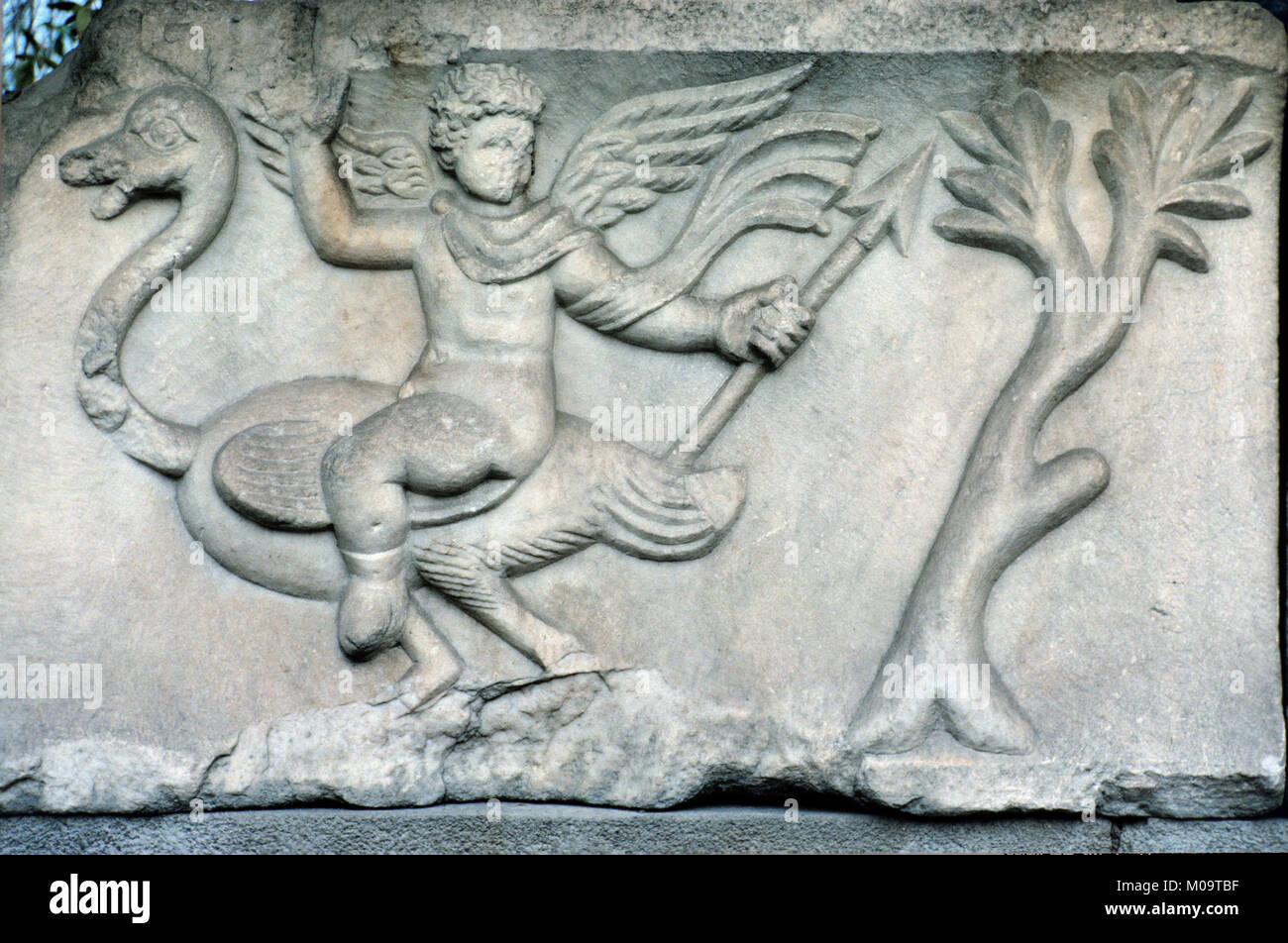 Marble Carving on Graeco-Roman Tomb or Sarcophagus Showing a Winged Angel Riding an Ostrich, Discovered in the Izmir Stock Photo